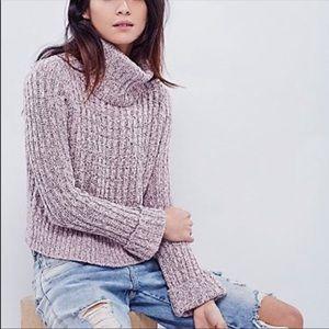 Free people cropped knit turtleneck sweater
